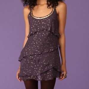 Free People Purple and Gold Tiered Silk Dress- 4